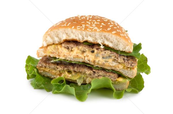 Zdjęcia stock: Hamburger · odizolowany · biały
