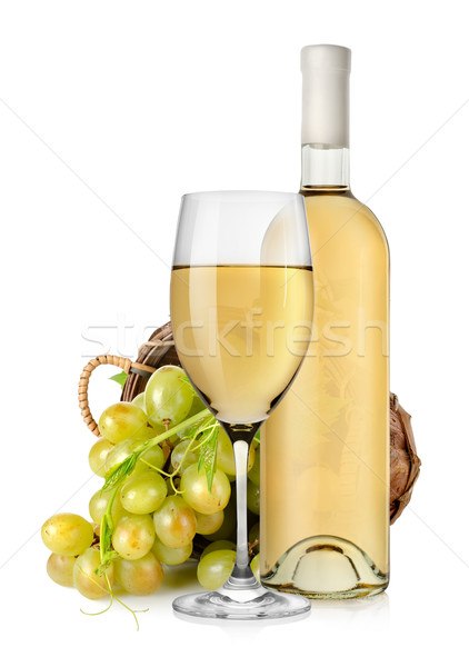 White wine bottle and grapes in basket Stock photo © Givaga