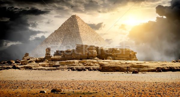 Nuvens pirâmide céu sol paisagem Foto stock © Givaga