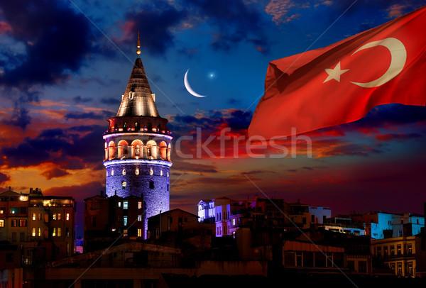 トルコ語 塔 フラグ イスタンブール 1泊 ストックフォト © Givaga