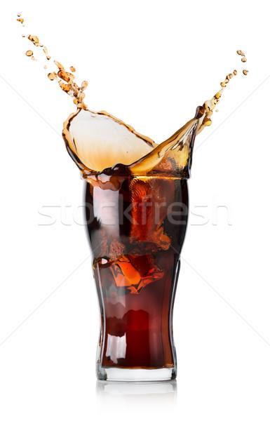 Splash Cola verre isolé blanche boire Photo stock © Givaga