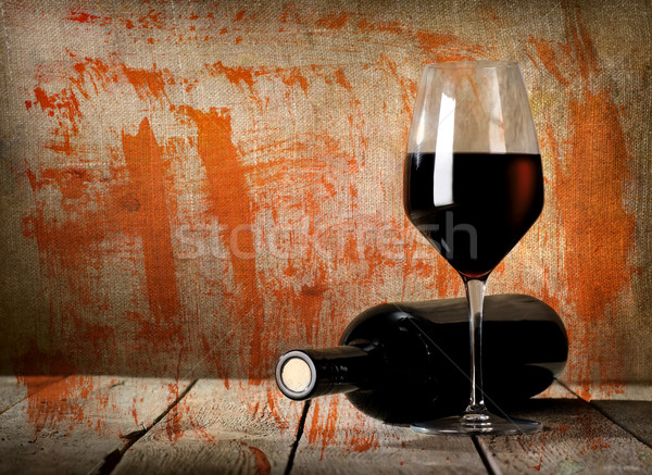 Black bottle and red wine vintage Stock photo © Givaga