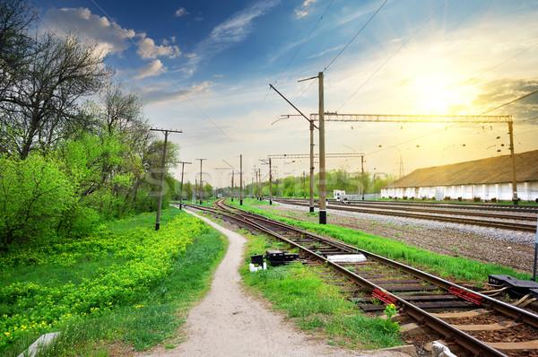Ferrovia elétrico estação de trem nascer do sol paisagem luz Foto stock © Givaga