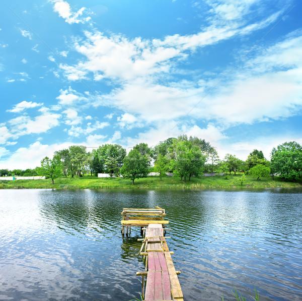 Dok molo jezioro lata Zdjęcia stock © Givaga