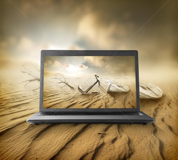 Desert on the monitor Stock photo © Givaga
