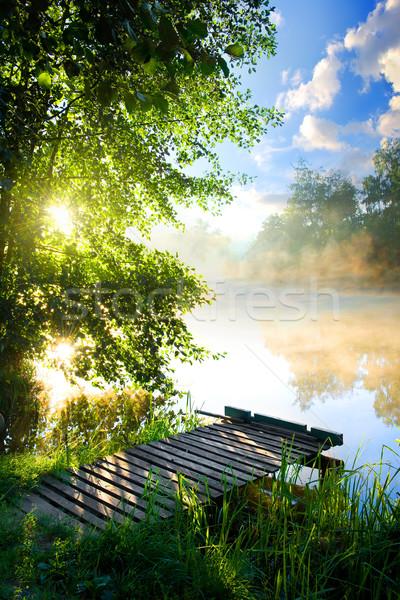 Pesca pier fiume mattina erba foresta Foto d'archivio © Givaga