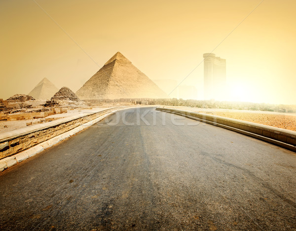 Stock photo: Road and pyramids