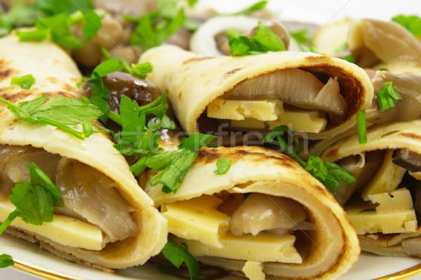 Doldurulmuş krep mantar peynir gıda plaka Stok fotoğraf © gladcov