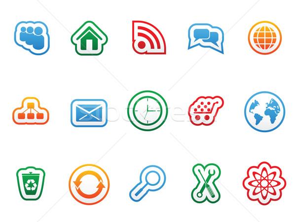étiquette icônes web design maison horloge Photo stock © gladcov