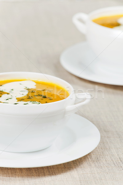 Fresh pumpkin soup Stock photo © gladcov
