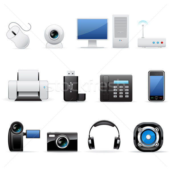 Computers and electronics icons Stock photo © gladcov