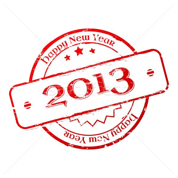 új év 2013 bélyeg fehér piros nyomtatott Stock fotó © gladcov