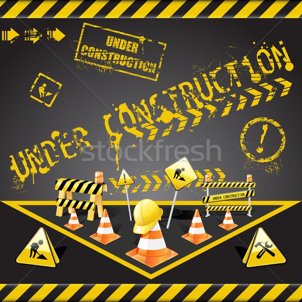 Bouw waarschuwing vector ingesteld communie Geel Stockfoto © gladcov