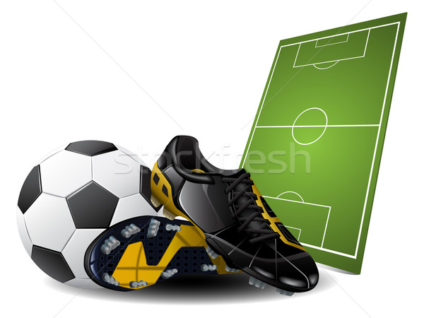 Soccer boots and ball Stock photo © gladcov