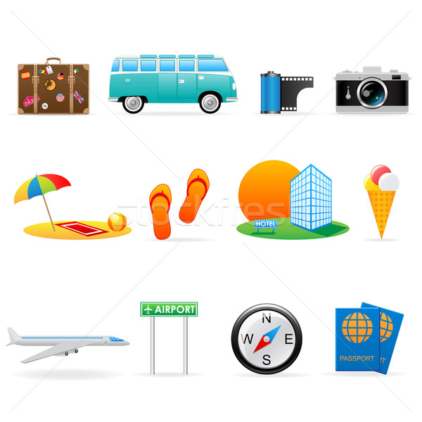 Travel icon set Stock photo © gladcov