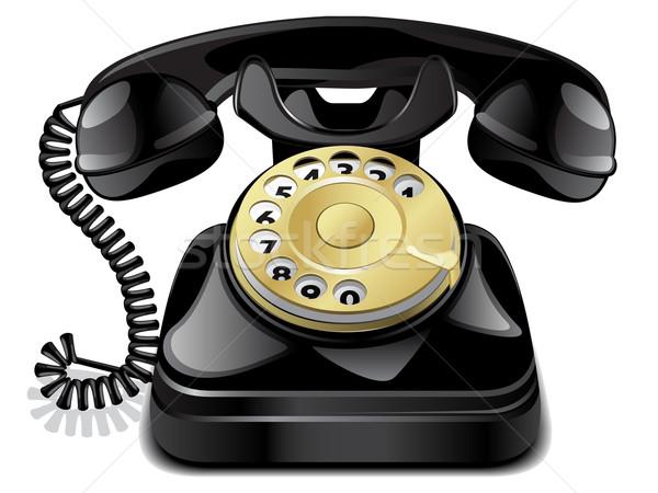 Vecteur vintage téléphone isolé blanche technologie Photo stock © gladcov