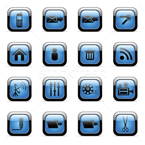 Web simgeleri vektör mavi web uygulamaları Stok fotoğraf © gladcov