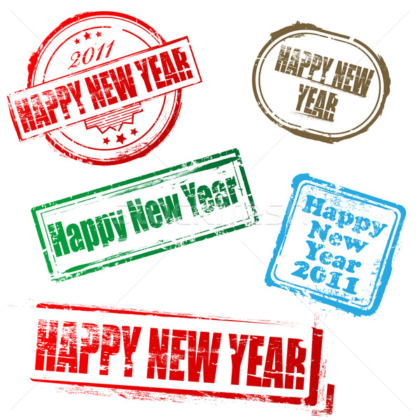 Nouvelle année 2011 timbres happy new year blanche fond Photo stock © gladcov