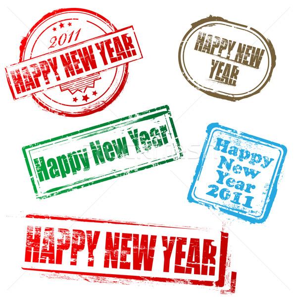 Nowy rok 2011 znaczków szczęśliwego nowego roku biały tle Zdjęcia stock © gladcov