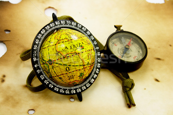 Globe and compas Stock photo © gladcov