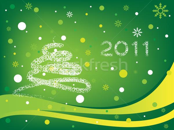 Happy new year 2011 vert heureux signe cadeau Photo stock © gladcov