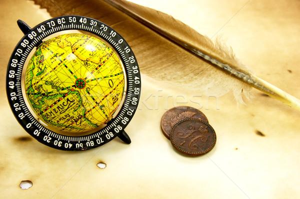 アンティーク 世界中 羽毛 コイン 古い グランジ ストックフォト © gladcov