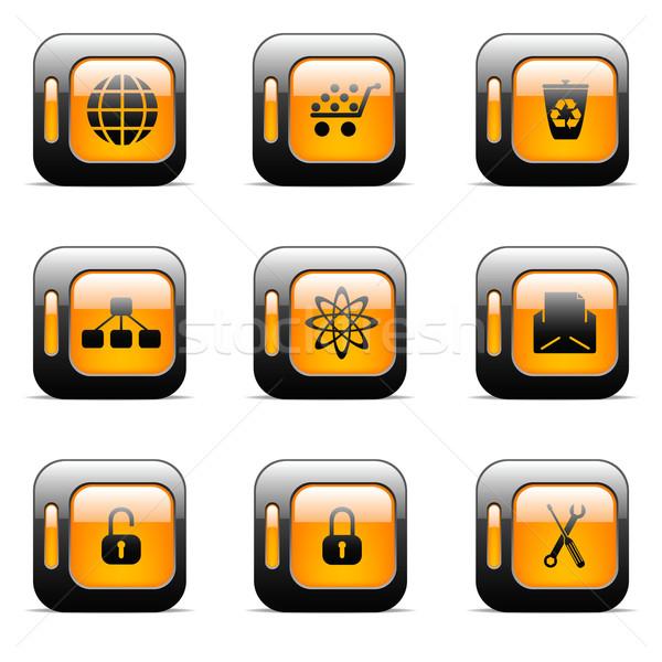 オレンジ オリジナル ベクトル ボタン Webデザイン ストックフォト © gladcov