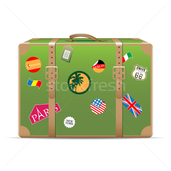 Klasszikus utazás bőrönd matricák izolált fehér Stock fotó © gladcov