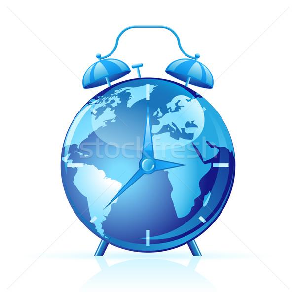 世界 クロック 青 孤立した 白 技術 ストックフォト © gladcov
