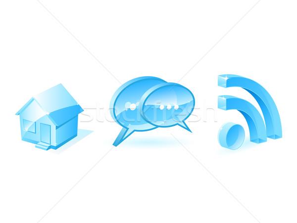 Интернет иконы синий изолированный белый компьютер дома Сток-фото © gladcov