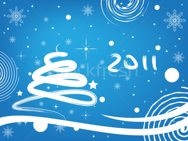 Happy new year 2011 bleu heureux signe cadeau Photo stock © gladcov