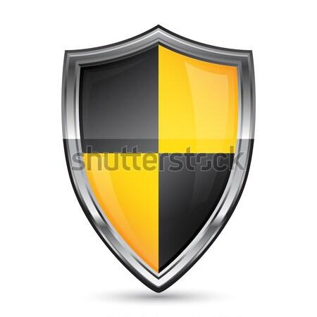 Kalkan ikon güvenlik beyaz dizayn Metal Stok fotoğraf © gladcov