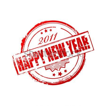 Stock fotó: új · év · 2011 · bélyeg · piros · boldog · új · évet · fehér