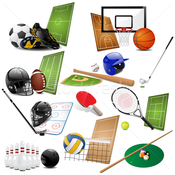 Sport icônes différent golf football design Photo stock © gladcov
