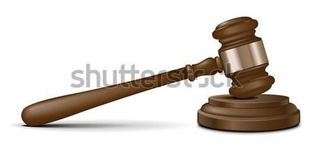 Vector rechter hamer kantoor hout achtergrond Stockfoto © gladcov