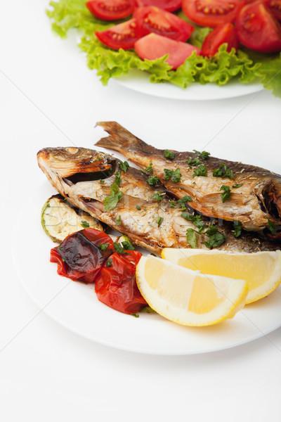フライド 魚 プレート 野菜 レモン 食品 ストックフォト © gladcov
