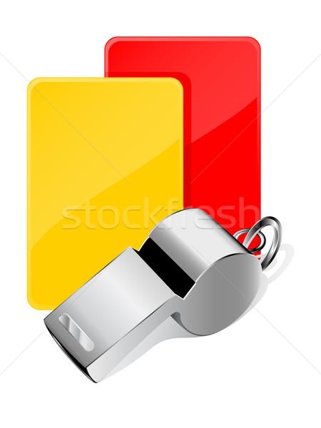 Cartões assobiar árbitro papel futebol esportes Foto stock © gladcov