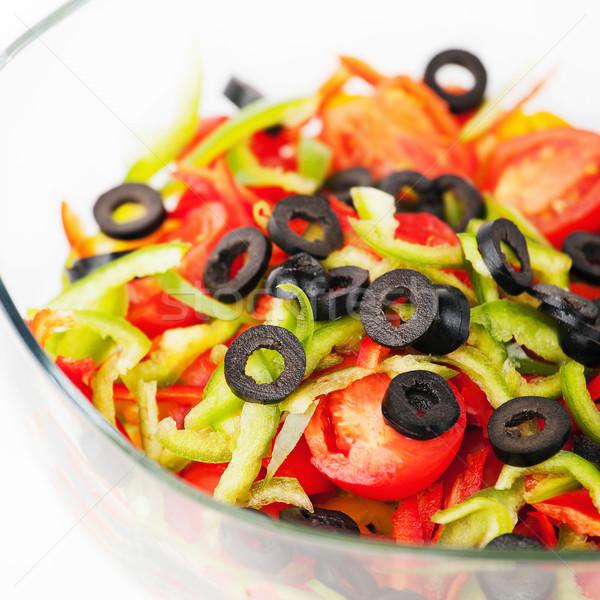 çanak salata tabağı taze sebze salata gıda arka plan Stok fotoğraf © gladcov