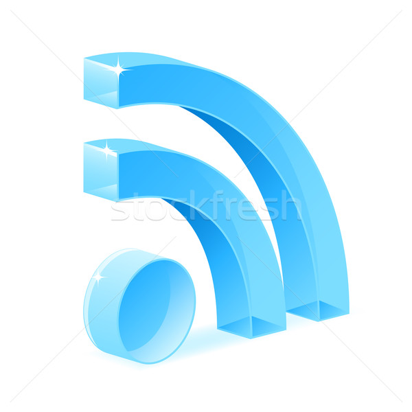 Rss символ синий изолированный белый компьютер Сток-фото © gladcov