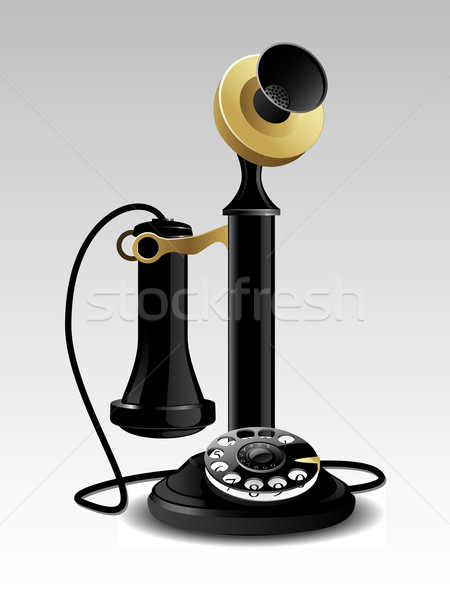 Vector vintage telefoon geïsoleerd witte technologie Stockfoto © gladcov
