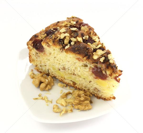 Dilim beyaz plaka kek kahvaltı Stok fotoğraf © gladcov