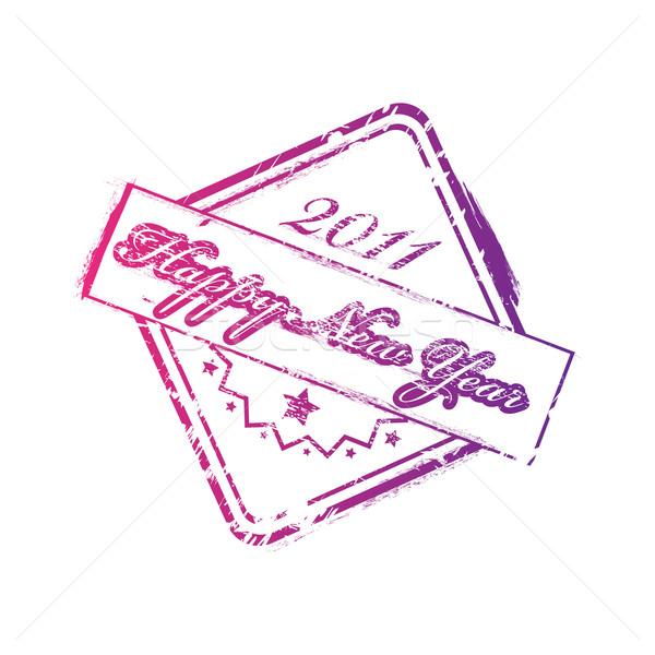 Capodanno 2011 timbro buon anno bianco stampa Foto d'archivio © gladcov