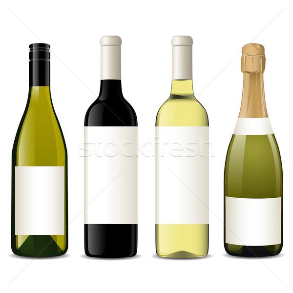 Vecteur vin bouteilles différent design fond Photo stock © gladcov