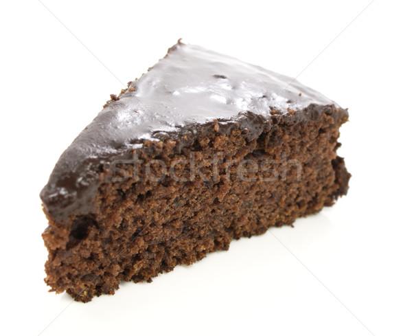 Tranche gâteau au chocolat blanche alimentaire chocolat plaque Photo stock © gladcov