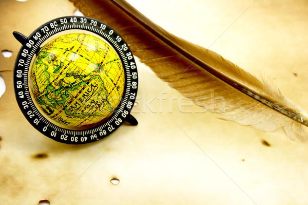 Antichi mondo piuma grunge mappa spazio Foto d'archivio © gladcov