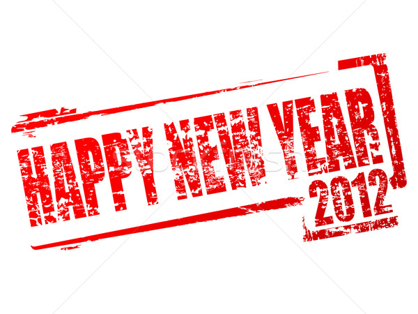 Nouvelle année 2012 tampon rouge caoutchouc happy new year Photo stock © gladcov