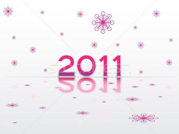 Szczęśliwego nowego roku 2011 szczęśliwy podpisania dar karty Zdjęcia stock © gladcov