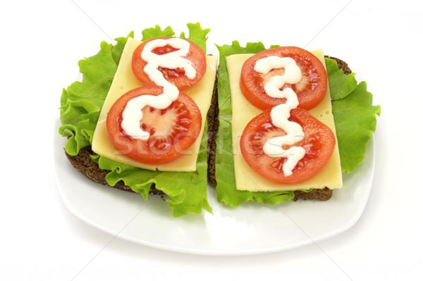 サンドイッチ チーズ レタス トマト マヨネーズ レストラン ストックフォト © gladcov