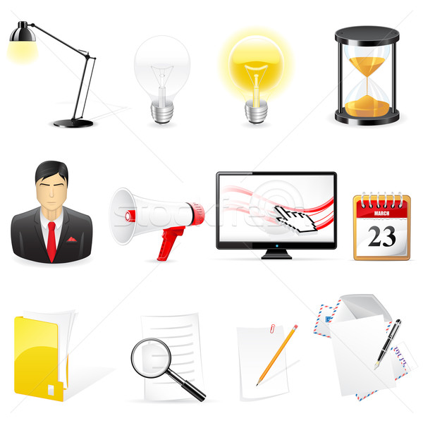 Photo stock: Vecteur · bureau · affaires · icônes · isolé