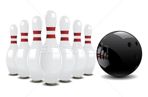 Bowling ball piłka czerwony sukces biały pin Zdjęcia stock © gladcov
